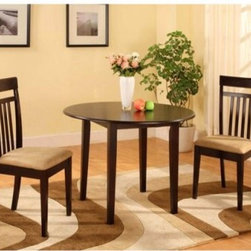 Sterling 3 Piece Drop Leaf Dinette Set - Wenge - When interior real estate is prime, get some help from the Sterling 3 pc. Drop Leaf Dinette Set - Wenge. The drop leaves allow you to reduce or expand your table top space as needed, and the charming round design makes it perfect for intimate dinners or cocktail hours. It's made with all-wood construction to ensure lasting use and features a deep wenge finish for classic tastes. The set comes complete with two minimalist chairs, each cushioned for extra comfort. Assembly required.About BernardsBernards is an importer and distributor of residential home furnishings. They offer products for all rooms at affordable prices and styles from traditional to contemporary. In order to bring the best values to their customers, Bernards shops the world for specialties to meet the needs and desires of their retailers and customers. Located in Archdale, NC., Bernards was founded in 1983 by Herman Bernard, a pioneer in furniture importing. He set the standard for integrity that has been the foundation of the company ever since. You can count on Bernards to give you the facts and stand behind the products they sell.