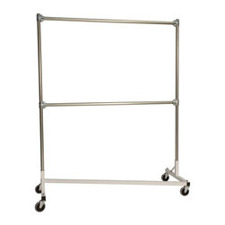 Z Racks - Heavy Duty Double Rail Z-Rack Garment Rack in - Base Color: White/Off-White. 500lb capacity. 14 gauge, 60 in. Long steel base (Environmentally safe powder coated finish ). 16 gauge, 72 in. upright bars and double hang rails. 1 5/16 outside diameter upright bars and hang rail. Grey non-marking soft rubber with TP center 4 in. casters. Made in the USA. 63 in. L x 23 in. W x 79 in. HThis Z-Rack is designed to hold up to 500 lbs of apparel, while maximizing all five feet of length. Also, because the two rows are placed on top of each other, the rack with steady 4 in. casters will not tip under a heavy load. The second hang rail can be placed anywhere desired along the uprights.