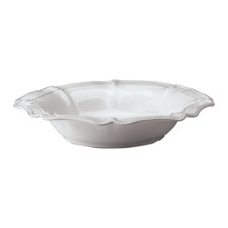 Berry and Thread Serving Bowl - Large - Whitewash - In a refined shape reminiscent of a lily opening to display tempting nectar within, the Berry and Thread Large Serving Bowl with its Whitewash glaze and sculptured motifs makes a stunning, gracefully elite backdrop to colorful salads and seasonal fruits. The scalloped edge lends more grace and sophistication to this chip-resistant stoneware dish, an heirloom piece of ceramic tableware.