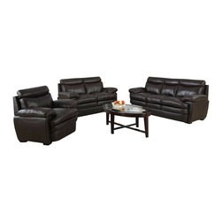 """Acme - 2 PC Aldora Collection Dark Brown Top Grain Leather Match Sofa and Love Seat Set - 2-Piece Aldora collection two tone dark brown top grain leather match upholstered sofa and love seat set. This set includes the sofa and love seat with padded high backs and overstuffed arms. Sofa measures 86"""" x 36"""" x 38"""" H. Love seat measures 66"""" x 36"""" x 38"""" H. Chair also available separately at additional cost. Some assembly may be required."""