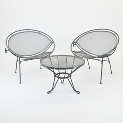 3pc Salterini Outdoor Metal Hoop Chairs & small table 1950's Early - Dimensions:L 30''  × W 36''  × H 27''