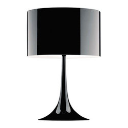 Lemoderno - Fine Mod Imports  Tulip Table Lamp, Black - A contemporary design coupled with quality craftsmanship make this classic table lamp an ideal choice. The Tulip Table lamp features a stainless steel lamp shade and is a great way to provide general room lighting. Type of bulb: E26, Maximum Watt: 60W, Bulb not included Stainless Steel Shade Aluminum Base  Assembly Required