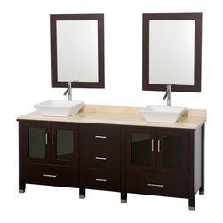 "Wyndham - Lucy 72"" Double Bathroom Vanity Set - Espresso - The Lucy Double Bathroom Vanity by Wyndham Collection is as beautiful as it is functional. The modern design puts a visual emphasis on clean lines, luxurious natural marble, abundant storage for two, and is and at home in almost every bathroom decor.; Offered with solid White Carrera Marble or Ivory Marble counter, several sink options, and a pair of matching mirrors, and featuring soft-close door hinges A rich espresso finish completes the look.; Espresso finish; Ivory marble counter; Includes white porcelain sink; Soft-close door hinges; Five drawers for extra storage; Includes matching mirrors; Pre-drilled for single hole faucets; Faucets not included; Dimensions: Vanity 72 x 23 x 36 (including sink); Double Mirrors - 24 x 32"