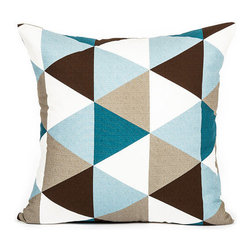 Blooming Home Decor - Modern Sky Blue & Teal Brown Triangle Pattern Throw Pillow Cover - - 100% cotton