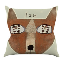 """Kess InHouse - Bri Buckley """"Fox Face"""" Brown Tan Throw Pillow (16"""" x 16"""") - Rest among the art you love. Transform your hang out room into a hip gallery, that's also comfortable. With this pillow you can create an environment that reflects your unique style. It's amazing what a throw pillow can do to complete a room. (Kess InHouse is not responsible for pillow fighting that may occur as the result of creative stimulation)."""