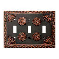 Jackson Deerfield Manufacturing - York Antique Bronze 3 Toggle Switchplate (JDM879ABRZ03) - York Antique Bronze 3 Toggle Switchplate