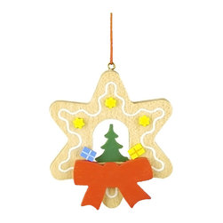 Alexander Taron - Christian Ulbricht Ornament-Tree with Toys in Gingerbread Star-3H x 2.5W x 0.25D - The wooden star-shaped Gingerbread cookie hanging ornament has a green tree in the center. Yellow stars - a couple of gifts - a large red ribbon and a drizzle of white frosting accents the outline. Made in Germany by Christian Ulbricht.