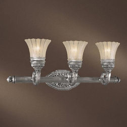 Minka-Lavery - Europa Three-Light Bath Fixture - Richly designed with opulent details, this bath fixture is superb.  Its brushed nickel finish and etched/clear glass complement each other with grace. Minka-Lavery - 5763-2560-84