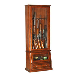 American Furniture Classics - 12 Gun Slanted Base Cabinet w Lock & Tempered - Secure and stylish, this traditional gun cabinet has solid lines and offers a safe showcase for your firearms. Exclusive slanted base and upper cabinet have tempered glass doors for semi-concealed storage. It'll easily hold rifles, shotguns, ammo and more. Solid wood and wood veneers. Displays most 52 in. scoped rifles. Tempered glass. Felt lined barrel rest and butt plate. Displays most double barreled shotguns. Fully locking cabinetry. Storage area behind drop front door. Classic furniture hardware. Floor levelers. 29 in. W x 14.5 in. D x 75.5 in. H
