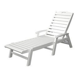 Trex Outdoor Furniture Yacht Club Chaise with Arms - Stackable - With a three-way adjustment, classic design, and choice of color, the Trex Outdoor Furniture Yacht Club Chaise with Arms - Stackable looks beautiful on any patio or deck. Perfect for getting some sun, reading a favorite book, or spending time with friends, you'll love taking the time to enjoy the sun and warm air this year. Crafted from Trex lumber which is made up of more than 90% recycled high-density polyethylene plastic (HDPE), the same kind of plastic that is found most commonly in milk jugs and laundry detergent bottles, this chaise lounge is also environmentally friendly. Made so it won't fade, crack, chip, peel, splinter, absorb moisture, or start to rot after being exposed to the elements, you'll have this chaise lounge for years of relaxing. You don't even have to worry about minor dings or scratches since the color of Trex lumber runs completely through the chair. Designed to fold flat for easy stacking and storage, the only maintenance this lounge requires is a wipe down with mild soap and water.