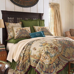 Silk Pintucked Euro Sham - Dramatically textured dupioni silk in a luscious peridot green is accented with row upon row of tuxedo pleated pintucks. This handsome Euro sham finishes in a petite, four-sided flange.