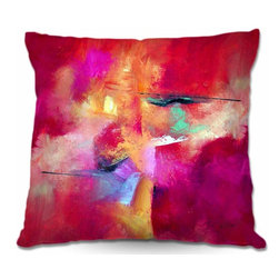 DiaNoche Designs - Pillow Woven Poplin from DiaNoche Designs - Pink Abstract - Toss this decorative pillow on any bed, sofa or chair, and add personality to your chic and stylish decor. Lay your head against your new art and relax! Made of woven Poly-Poplin.  Includes a cushy supportive pillow insert, zipped inside. Dye Sublimation printing adheres the ink to the material for long life and durability. Double Sided Print, Machine Washable, Product may vary slightly from image.