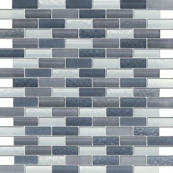 Vintrav Slate Grey 1/2 in. x 2 in. Glass Mosaic Tiles, Sheet - Vintrav Slate Grey 1/2 in. x 2 in. Glass Mosaic Tiles for Bathroom Floor, Kitchen Backsplash, unmatched quality.