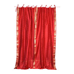 Indian Selections - Pair of Fire Brick Tie Top Sheer Sari Cafe Curtains, 43 X 36 In. - Size of each curtain: 43 Inches wide X 36 Inches drop .