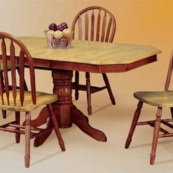 "Sunset Trading - 5-Pc Eco-Friendly Extension Table Set - Includes one extension table and four large Windsor chairs. Sturdy quality craftsmanship. Table:. Classic and timeless and and with the memories made. Solid handcrafted hardwood. Light oak top. Self storing 18 in. butterfly leaf converts from 48 in. round to 48 in. x 66 in. oval. Pedestal with adjustable feet levelers. Chair: Windsor style chair. Keyhole back and scooped seat. Perfectly carved and turned legs. Large backrest and seating area to provide ideal seating solution. Warranty: One year. Made from Malaysian oak. Nutmeg finish. Made in Malaysia. Table assembly required. Chair: 20 in. W x 19.5 in. D x 38 in. H (16 lbs.). Table:. Minimum: 48 in. L x 36 in. W x 30 in. H. Maximum: 60 in. L x 36 in. W x 30 in. H. Weight: 93.06 lbs.This beautifully designed furniture supplied by Sunset Trading will assure you many years of use and enjoyment. Welcome guests into your home with a touch of country comfort with this classic American piece from the Sunset Trading - Sunset Selections Collection. Whether it's casual ""coffee and conversation"", everyday dining, holidays or special occasions, memories are guaranteed to be made when family and friends gather around this versatile dining table. Warm and inviting, the classic beauty and craftsmanship of this dining tables makes it equally appropriate for your kitchen or dining room fulfilling all your formal and informal dining needs. Pair this table with your choice of Sunset Selections arm and side chairs to appropriately complete your informal or formal dining space. this relaxed dining piece will bring warmth and comfort to your home for years to come!"