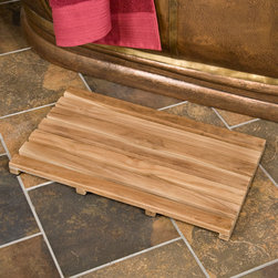 """24"""" x 14"""" Teak Rectangular Shower Mat - Smooth and safe enough to use with bare feet, this Rectangular Teak Shower Mat will help prevent slipping in or around your shower. Left unsealed, it can be easily finished if desired."""