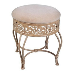 Villa III Vanity Stool - Delight yourself with the decadent Villa III Vanity Stool and plunge into perfect luxury. Its traditional ornate leaf design in an antique beige finish will immerse you in an era long past and add a classic touch to your vanity. The soft beige fabric seat and durable metal frame will ensure both comfort and stability time and time again. This stool measures 18.5W x 19.5D x 19.5H inches. About Hillsdale FurnitureLocated in Louisville Ky. Hillsdale Furniture is a leader in top-quality affordable bedroom furniture. Since 1994 Hillsdale has combined the talents of nationally recognized designers and globally accredited factories to bring you furniture styling and design from around the globe. Hillsdale combines the best in finishes materials and designs to bring both beauty and value with every piece. The combination of top-quality metal wood stone and leather has given Hillsdale the reputation for leading-edge styling and concepts.