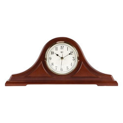 RIVER CITY CLOCKS - Radio-controlled Tambour Mantel Clock with Cherry Finish - Sets itself automatically