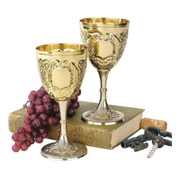 """EttansPalace - 6.5"""" Medieval Knights Royal Chalice Brass Wine Goblet Cup - Set of 2 - Raise a toast in the spirit of the Renaissance with these embossed brass goblets. Though only Medieval knights of the realm were once allowed such finery, you and your guests may now raise an 8-oz. glass to cheer a marriage, a birth or any festive occasion worthy of a royal celebration."""