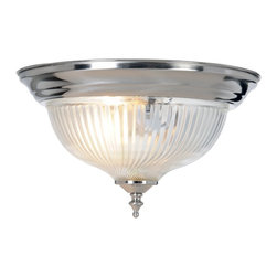 Premier Faucet - Swirl 10.875 inch By 6 inch Ceiling Light - Brushed Nickel - AF Lighting 558726 Halophane Swirl Ceiling Fixture, Brushed Nickel Finish, 10-7/8in. D by 6in. H Features: Clear swirled glass with matching accents, surface mount, 10-7/8 inches in diameter. Flush mount ceiling light fixture. Clear halophane swirl glass with matching brushed nickel accents. Uses 1 75-watt light medium base bulb (not included). UL listed light fixture.