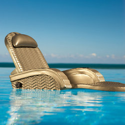 """Frontgate - Extra-Large Adjustable Pool Chaise - Sturdy, rustproof steel frame is covered in thick layers of ultra buoyant closed-cell foam. Rippled pool chaise surface prevents sticking. Easily props up, lies flat, and adjusts anywhere in between. Vinyl coating protects the pool float against fading and chemicals. Includes one coordinating Kool Kan and removable floating pillow. Our Extra-Large Adjustable Pool Chaise is 10"""" longer and 4"""" wider than the original — an ultra-comfortable pool float for even the tallest user. Spacious, full-body support allows for hours of relaxation on the water.. . . . . Please note, personalized items are nonreturnable."""