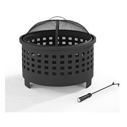 Crosley - Hudson Basket Weave Firepit in Black - Dimensions:  26 x 26 x 11 inches