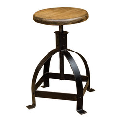 Marco Polo Imports Material: Iron - William Metal Adjustable Counter Stool - Modern adjustable counter stool with a sleek metal base and a classic round wooden stool seat with a polished natural finish.