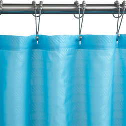 Polyester Chevron Shower Curtain - Turquoise - A bright addition to your bathroom, this Turquoise shower curtain is made of polyester.
