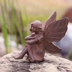 Aura an Earth Fairy Garden Statuary - Fairies add a magical touch to a garden.