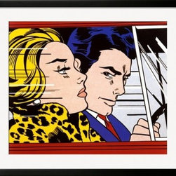 Artcom - In the Car, c.1963 by Roy Lichtenstein Artwork - In the Car, c.1963 by Roy Lichtenstein is a Framed Art Print set with a SOHO Black wood frame and a Conservation Super White mat.