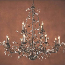Elk Lighting - Circeo Twelve-Light Chandelier - An enchanting treat for the eyes, this twelve-light chandelier combines gracefully flowing branches with lovely blooming crystals.   Perfect for a fine dining room or a large entry hall,   A deep rust finish adds a rich depth to this piece, creating an endless supply of refined charm and appeal.   Elk Lighting - 8055/8+4