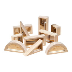 Guidecraft - Guidecraft Hardwood Mirror Blocks Set - 10 Pieces - Guidecraft - Activity Sets - G3017 - Set of 10 mirror blocks features hard Wood frames With soft rounded corners and mylar mirrored doublefaced interiors.