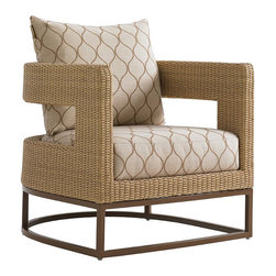 Frontgate - Aviano Barrel Chair - Aluminum frame has a rich burnished mocha finish that complements natural tones in the all-weather wicker. Fabrics feature tightly woven mold- and mildew-resistant fibers, solution-dyed to resist UV fading, with a durable finish for superior stain and water resistance. Plush WeatherGuard cushions feature: a 1.8 lb.-density inner core of high-resiliency foam that functions like a box spring; a layer of soft-cell foam for mattress-like comfort; a layer of naturally anti-microbial spun polyester fiber; and a layer of thermally sealed non-woven ticking to prevent water penetration. High-density polyethylene wicker offers a high tensile strength, low maintenance and resistance to UV exposure, mildew, fading, staining, stretching and cracking. All-weather wicker is easy to clean with a mild solution of soap and water. A mid-century modern, al fresco interpretation of the classic barrel chair, the Aviano Barrel Chair features a comfortable rounded back that seamlessly flows into track arms. An open panel and all-weather wicker - in a natural seagrass hue - add an outdoor feel while enhancing the comfort of the plush, loose cushions.  .  .  .  .  .