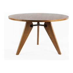 Stilnovo Wood EME Round Dining Table - The EME round dining table made of solid ash in a walnut stain with steel connector rods. Easy to assemble and maintain.