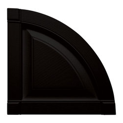 """Builders Edge - Vinyl Raised Panel Design Quarter Round Tops - Provides distinctive styling for standard shutters. Constructed with color molded-through vinyl so they will not scratch, flake, or fade. Durable, maintenance-free U.V. stabilized, deep wood grain texture. Made in the USA. For use with Builders Edge 15"""" Standard Raised Panel Shutters only. 14.75 in. W x 1 in. D x 14.75 in. H (1.69 lbs.)"""