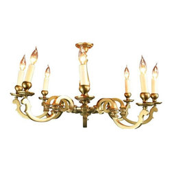 Vintage C. 1950 French Brass  8-Arm Chandelier - Here's a lovely vintage brass chandelier from France, dating to 1950. If you're looking for something that feels traditional in style yet is absolutely unique, this vintage French chandelier is for you! Eight elegant arms lift electric candles skyward to provide warm lighting to your dining room, foyer, or even your master bath. We'll ship this beauty free to most of the U.S. Overall Condition is Used - Very Good. Wear to the finish. Metal arms are slightly bent and candlesticks need to be straightened.