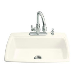 KOHLER - KOHLER Cape Dory Self-Rimming Kitchen Sink with Two-Hole Faucet Drilling - KOHLER K-5863-2-96 Cape Dory Self-Rimming Kitchen Sink with Two-Hole Faucet Drilling in Biscuit