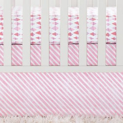 Serena & Lily - Shell Candy Stripe Crib Skirt - Cheerful stripes with a handpainted look are printed on tailored cotton. A flexible color palette makes nursery updates a breeze.