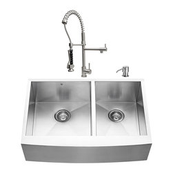 VIGO Industries - VIGO Farmhouse Stainless Steel Kitchen Sink, Faucet, Two Grids, Two Strainers an - Give your kitchen a makeover starting with a VIGO Farmhouse Stainless Steel Kitchen Set.