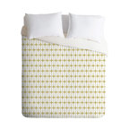 Caroline Okun Modular Beige Queen Duvet Cover - Dress your bed in mod style. This fun duvet cover features a modular grid pattern custom-printed in beige and white on soft woven polyester in your choice of sizes. Pop in your favorite duvet, zip the hidden zipper and rest easy.