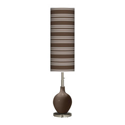 """Color Plus - Contemporary Carafe Bold Stripe Ovo Floor Lamp - Welcome exquisite color and design to your home decor with this Color + Plus™ glass floor lamp. The design is hand-crafted by experienced artisans in our California workshops with a Carafe brown designer high-gloss finish. It is topped with a stylish made-to-order translucent shade that features a Bold Stripe pattern in rich color tones that complement the base hue. A brushed steel finish stand and neck balance the look in contemporary style. U. S. Patent # 7347593. Carafe brown designer glass floor lamp. Bold Stripe pattern giclee-printed translucent shade. Brushed steel finish. Takes one 150 watt bulb (not included). On/off column switch below shade. 60"""" high. Shade is 34"""" high 13"""" wide. Base is 10"""" wide.   Carafe brown designer glass floor lamp.  Bold Stripe pattern giclee-printed translucent shade.  Brushed steel finish.  Takes one 150 watt bulb (not included).  On/off column switch below shade.  60"""" high.   Shade is 34"""" high 13"""" wide.   Base is 10"""" wide."""