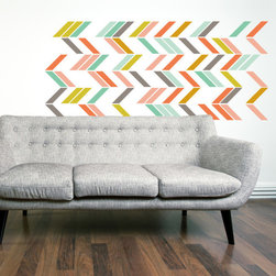 "The Lovely Wall Co - Multi Color Herringbone - Wall Decal Set - 90 1""w x 6""l. Individual Herringbone Strips"