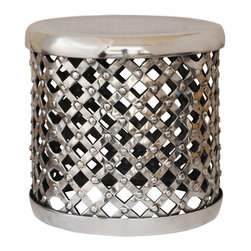 "Four Hands - Marlow 18"" Drum Stool, Polished - Add extra seating that's truly extraordinary to your eclectic home. This cool stool is made of cross-hatched metal and studded for exciting standout style."