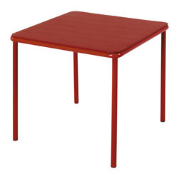 Cosco Office - Kids Square Vinyl Top Table - Easy to clean. Screw in legs. Durable steel frame with powder coated finish. Warranty: One year. Made from steel and vinyl. Red finish. 24 in. L x 24 in. W x 21.5 in. H (10.1 lbs.)Great for snacks, crafts, games and more. Our pint-sized tables are designed for big fun. Theyre ideal for arts and crafts projects, tea parties and birthdays. Match this table with our pinch-free chairs for durable construction and easy-to-clean surfaces, everyone will want to sit at the kids table.