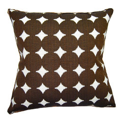 Square Feathers - Sheldon Pillow, Dots Pillow - It's hard to go wrong with chocolate brown; the color works as a versatile neutral, but is also rich enough to ground a space. Plump dots bring interest and a bit of fun to this pillow and ensure it won't fade into the background.