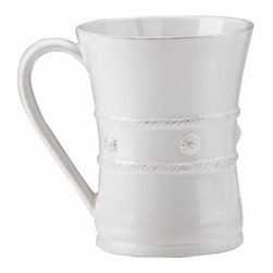 """Juliska - Juliska Berry and Thread Mug Whitewash - Juliska Berry and Thread Mug Whitewash.The generous size of this mug allows for more steaming hot coffee on foggy mornings before heading out to the office or a round of golf. It is equally as lovely filled with hot chocolate for a fireside rendezvous with your sweetheart. Dimensions: 3.5"""" W x 4.5"""" H Capacity: 12 oz"""