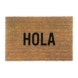 Reed Wilson Design - Hola Door Mat - These mats are manufactured in the USA from natural coir (coconut) fiber bristles, which are inserted into a weatherproof vinyl backing. Designs are applied through an electrostatic flocking process, which permanently bonds the colored fibers to the coir fibers.