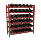 36 Bottle Stackable Wine Rack in Pine with Cherry Stain - A pair of discounted wine racks allow double wine storage at a low price. This rack accommodates all 750ml bottles, Pinots and Champagnes. The quintessential DIY wine rack kit. Your satisfaction is guaranteed.