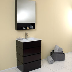 """24"""" Amato Single Vanity with Medicine Cabinet (FVN6124ES) - The Fresca Amato Single Vanity is sweet, simple, and chic to the point of efficientcy. It is complimented by a white sink basin and chrome hardware.  Great for small spaces for a small office or the one person studio nestled into the Upper West Side.  Features a beautiful espresso finish with medicine cabinet.  Many faucet styles to choose from.  Optional side cabinets are available."""