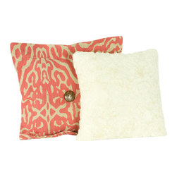 Cotton Tale Designs - Raspberry Dot Pillow Pack - Set of 2 - A quality baby bedding set is essential in making your nursery warm and inviting. All Cotton Tale patterns are made using the finest quality materials and are uniquely designed to create an elegant and sophisticated nursery. Two pillows make up this fun pack. One in Raspberry animal print, the other in faux rabbit fur. Measuring 15x15 and 12x12. Sold as a pack and specifically for decorative purpose only, never in the crib. Spot clean only. Combination of cotton and polyester with poly fill. This completes your little girls nursery.